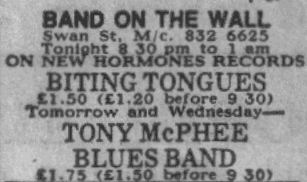 Biting Tongues at Band On The Wall, Swan Street, Manchester