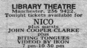 Biting Tongues at Library Theatre, Manchester (with Nico and John Cooper Clarke)