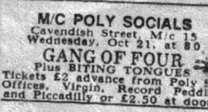 Biting Tongues at Manchester Polytechnic, Cavendish Street, Manchester (supporting Gang of Four)