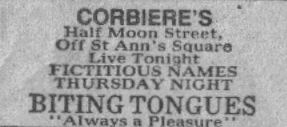Biting Tongues at Corbiere's, Half Moon Street, Off St Ann's Square, Manchester